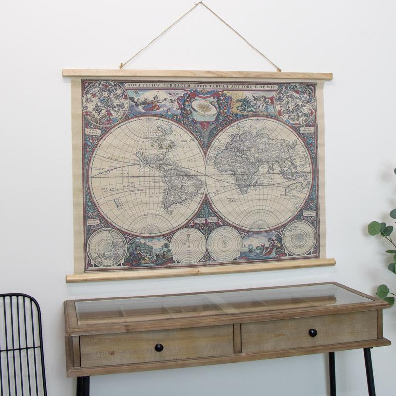 Hanging Canvas World Map
