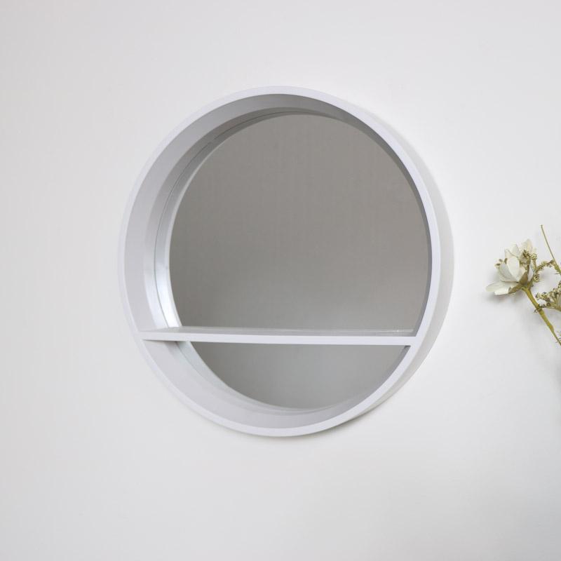 Round White Mirrored Shelf Unit