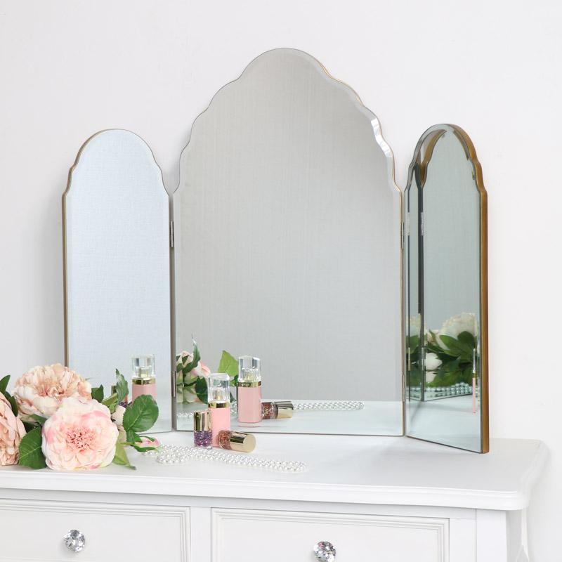 Antique Gold Arched Triple Vanity Mirror 60cm x 72cm