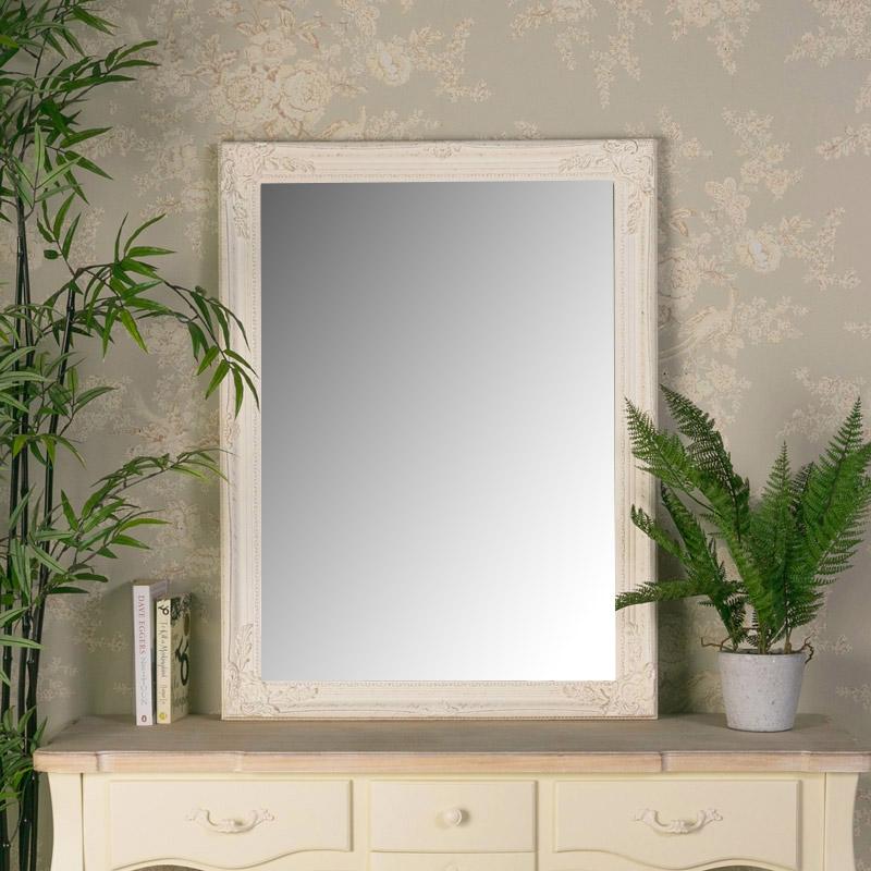 Large Ornate Cream Wall Mirror 62cm x82cm