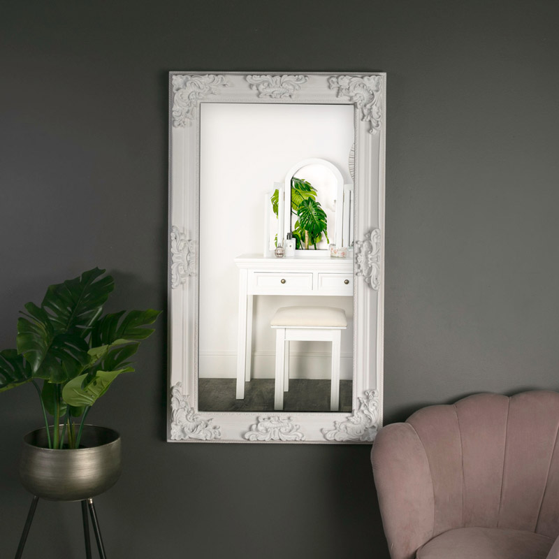 Large Ornate White Wall Leaner Mirror, Large Leaner Mirrors