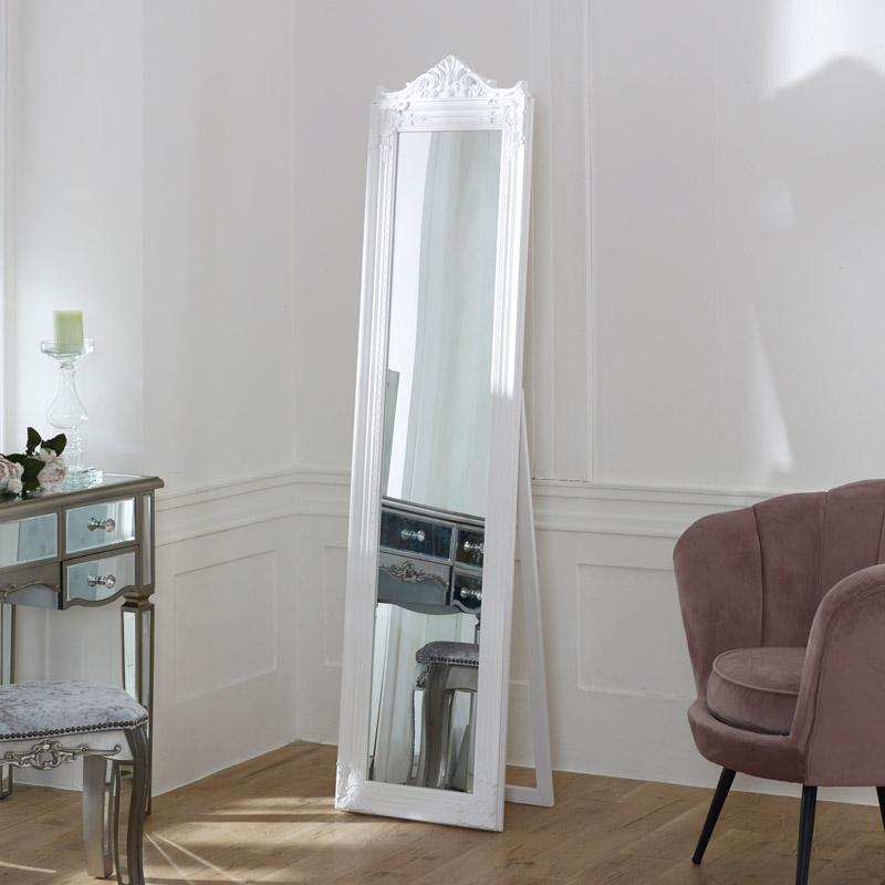 White Full Length Freestanding Cheval Mirror 44cm x 180cm