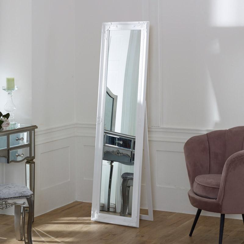 Ornate White Free Standing Cheval Mirror 45cm x 165cm
