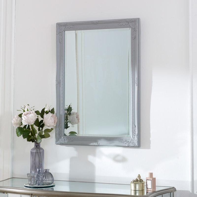 Vintage Ornate Grey Wall Mirror 62cm x 82cm