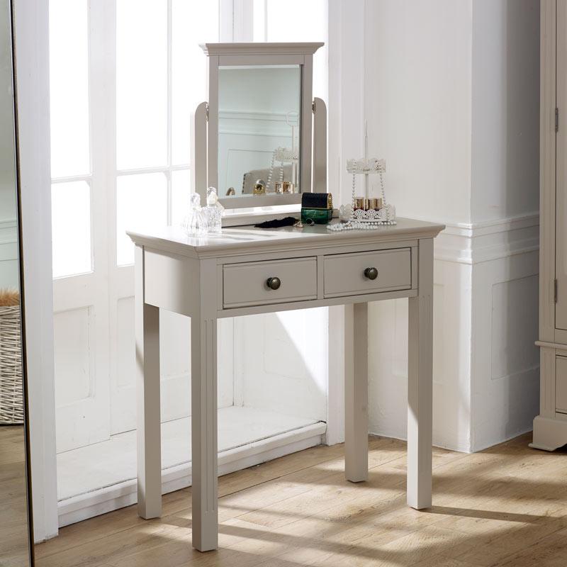 Taupe-Grey Dressing Table & Mirror Set - Davenport Taupe-Grey Range