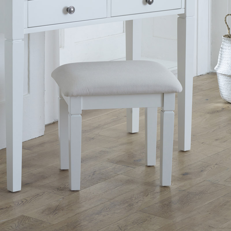 White Dressing Table Stool - Newbury White Range