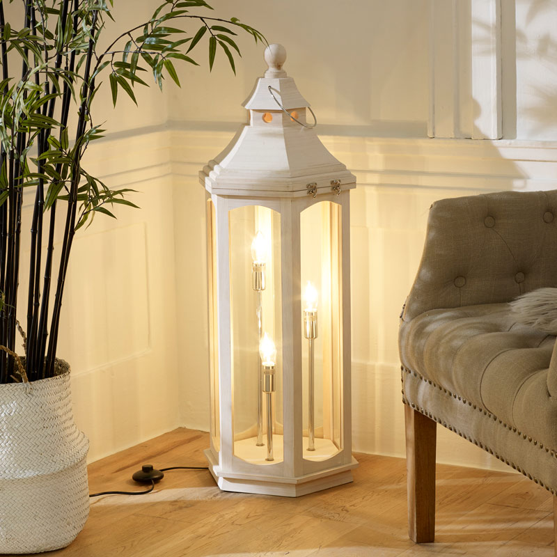 White Washed Wooden Lantern Floor Lamp