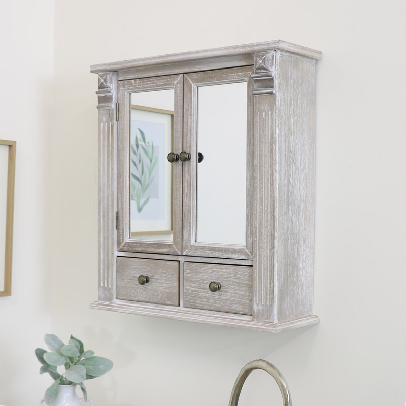 Wooden Mirrored Bathroom Cabinet