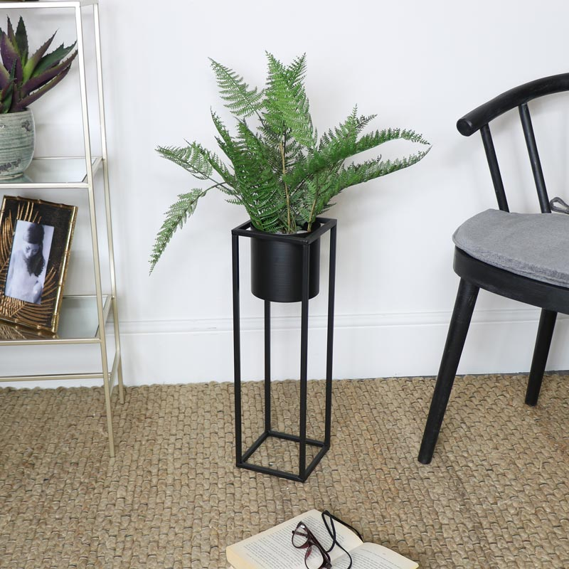 Black Metal Plant Stand Flora Furniture