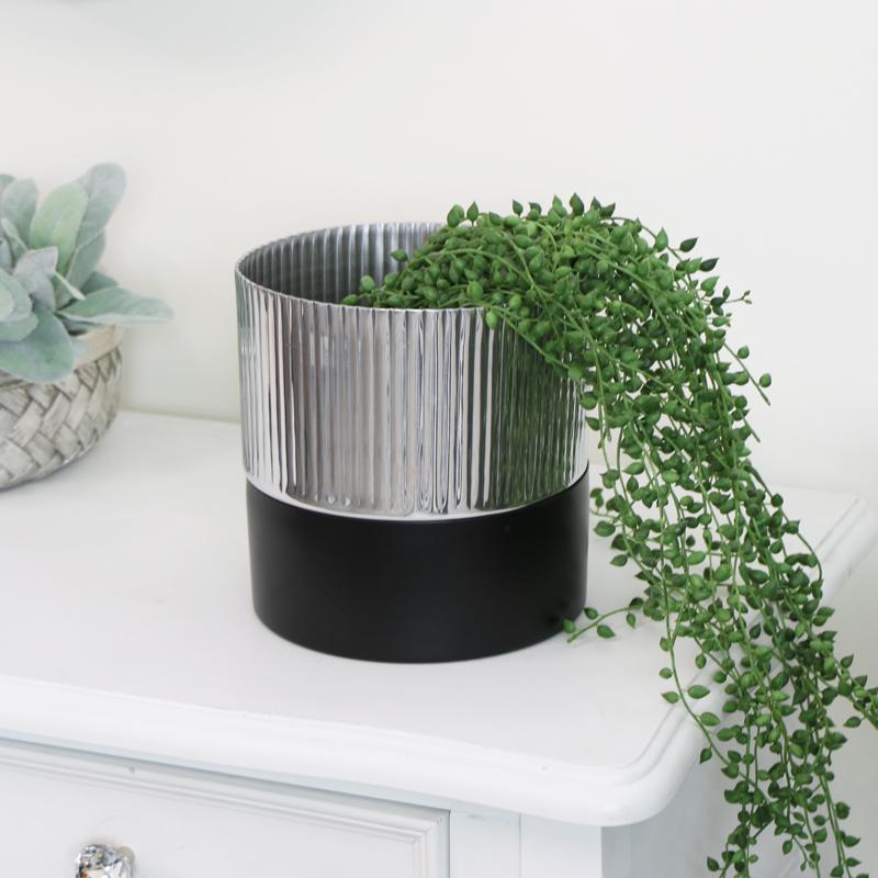 Small Black & Silver Metal Planter