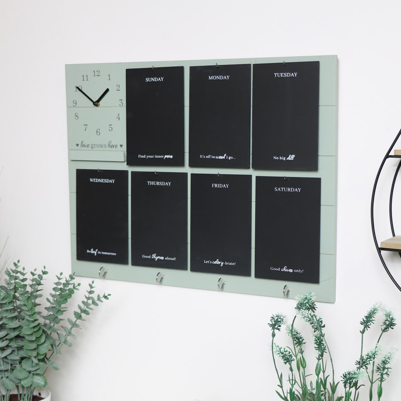 Green Wooden Memo Board with Hooks