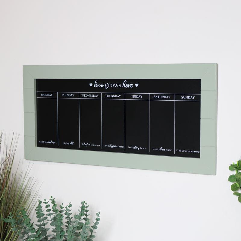 Green Wooden Weekly Chalkboard Planner
