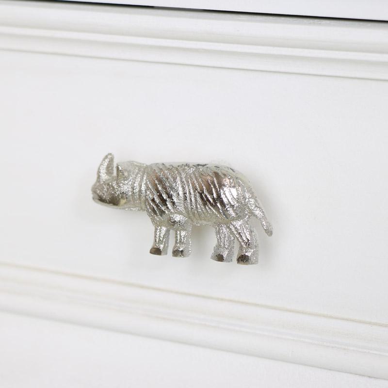 Silver Rhino Drawer Knob