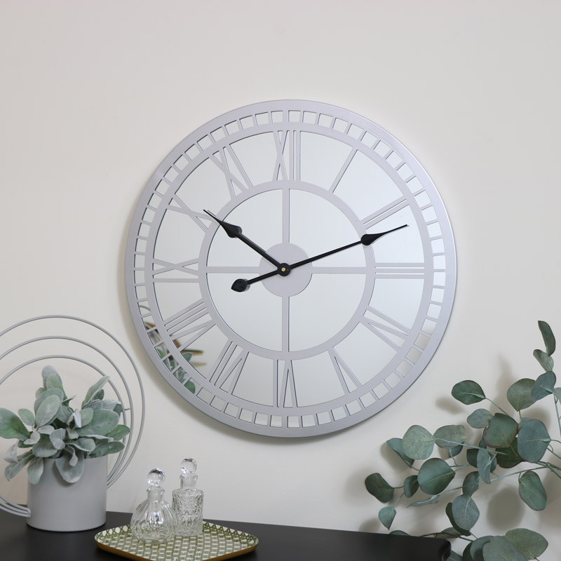 Silver Mirrored Skeleton Clock 60cm x 60cm