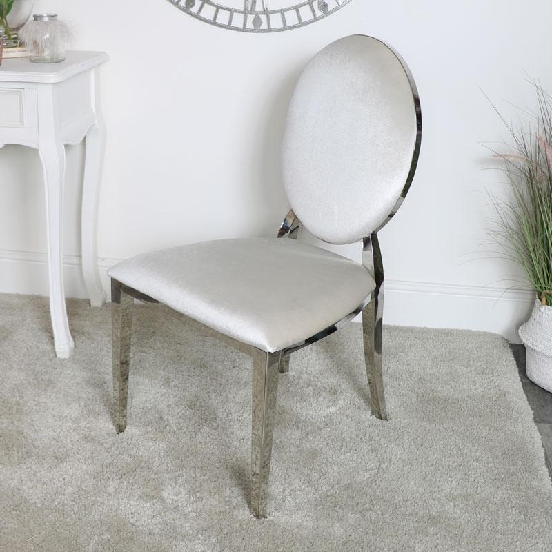 Silver & Grey Velvet Dining Chair