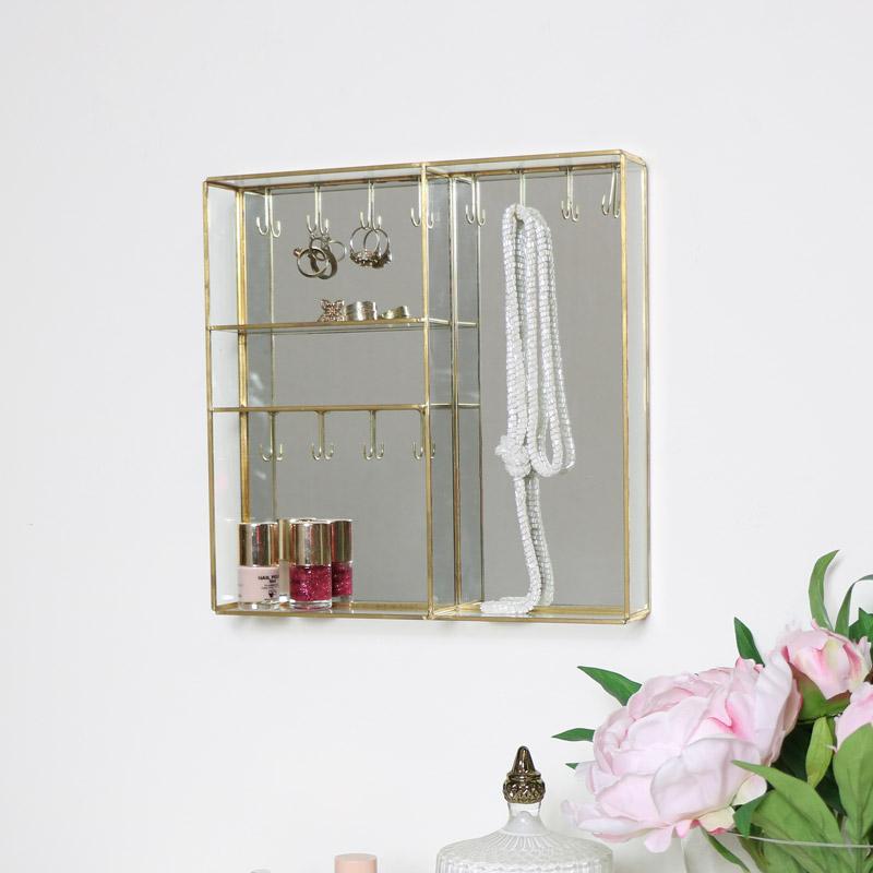 Gold Mirrored Wall Mounted Jewellery Box