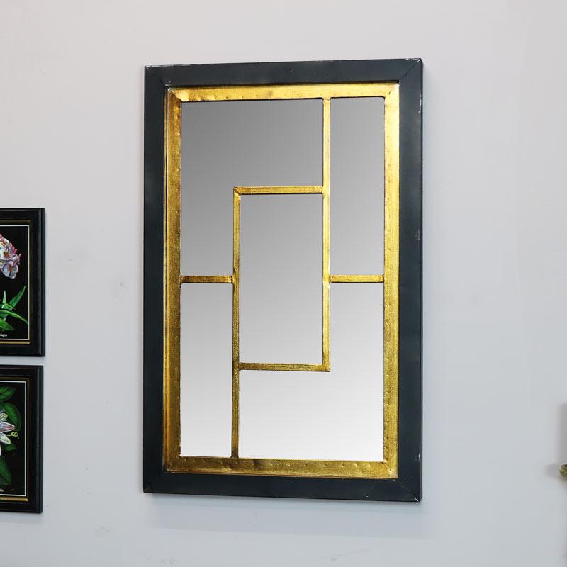 Black & Gold Geometric Wall Mirror 45cm x 70cm