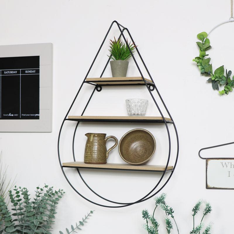 Tear Drop Wire & Wood Shelf