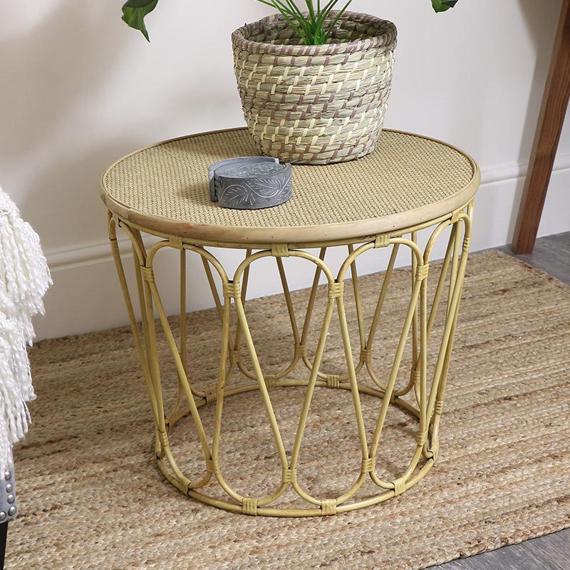 Large Boho Cane Coffee / Side Table
