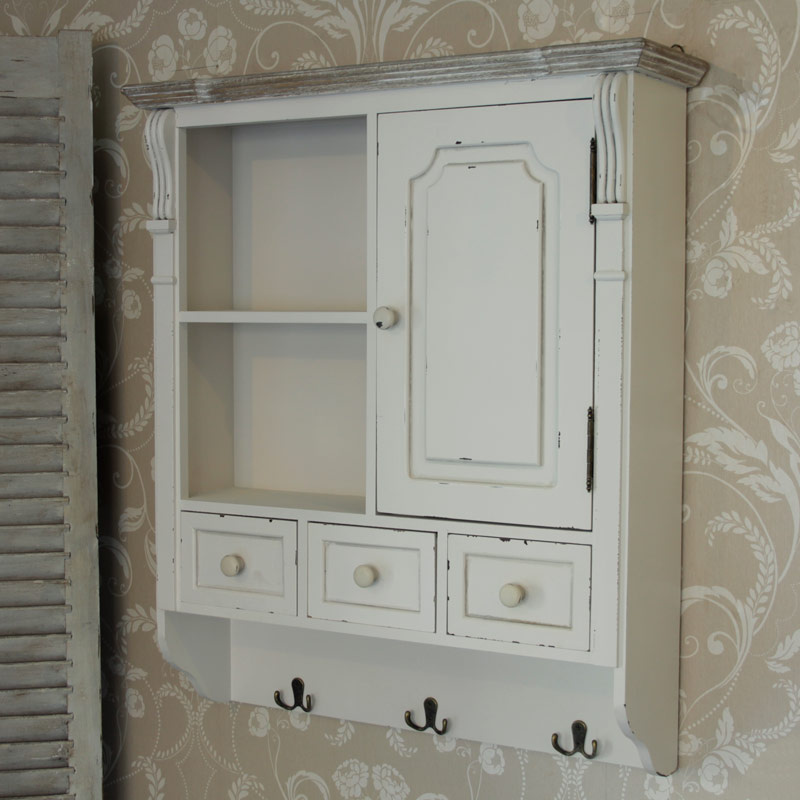 Cream Wall Mounted Cupboard With Hooks