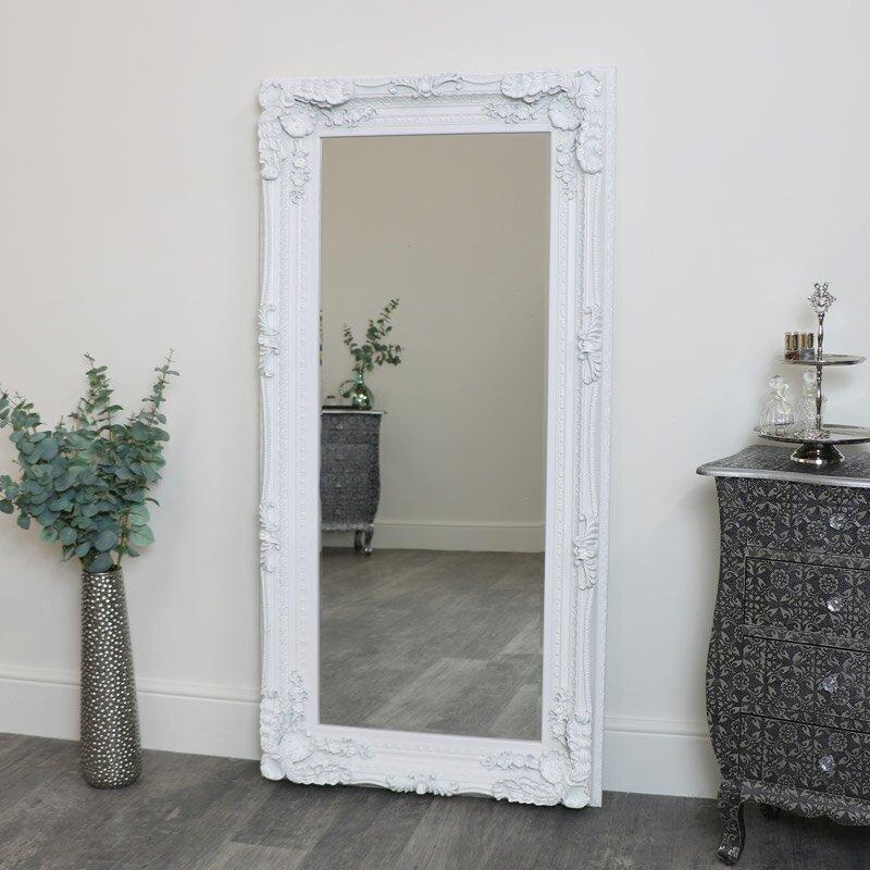 Large Ornate White Wall / Floor / Leaner Mirror 78cm x 158cm