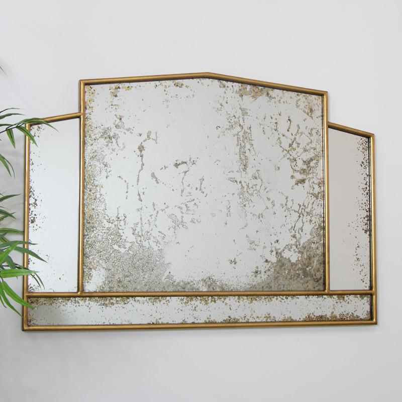 Art Deco Antiqued Gold Mirror