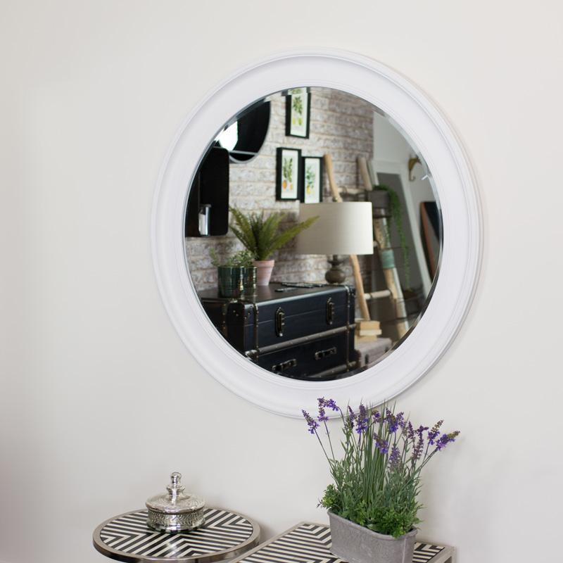 Extra Large Round Vintage White Wall Mirror 100cm x 100cm