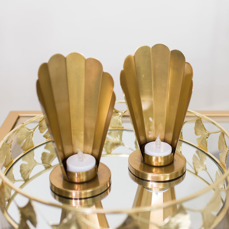 Pair of Antique Gold Deco Tealight Holders