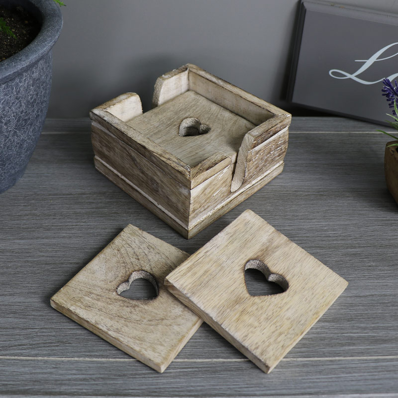 Set of Six Wooden Heart Coasters