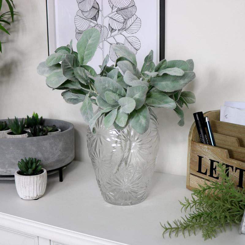 Tall Clear Glass Daisy Vase