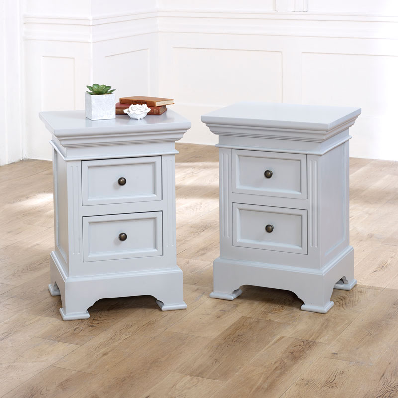 Pair of 2 Drawer Bedside Chests - Daventry Dove-Grey Range