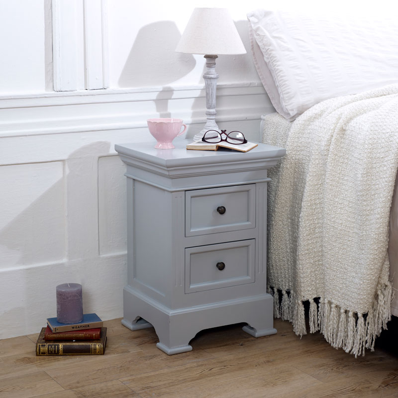Two Drawer Bedside Chest - Daventry Dove-Grey Range