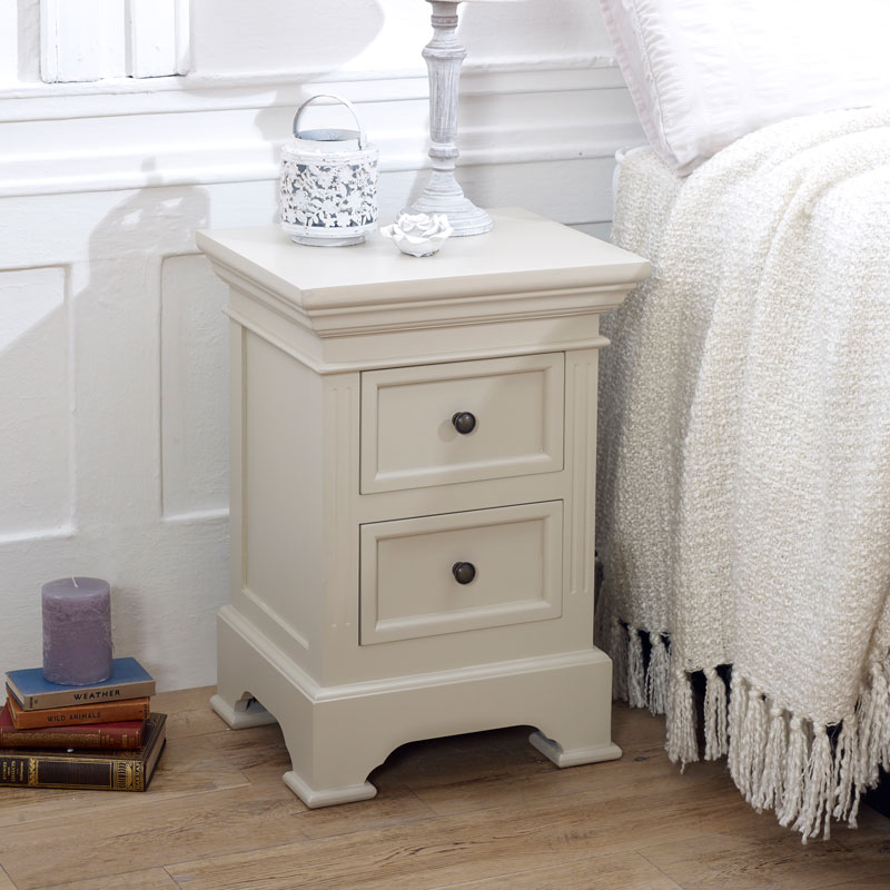 Grey 2 Drawer Bedside Table - Daventry Taupe-Grey Range