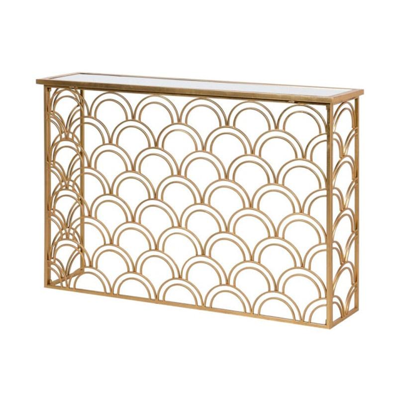 Slim Gold Mirrored Art Deco Console Table