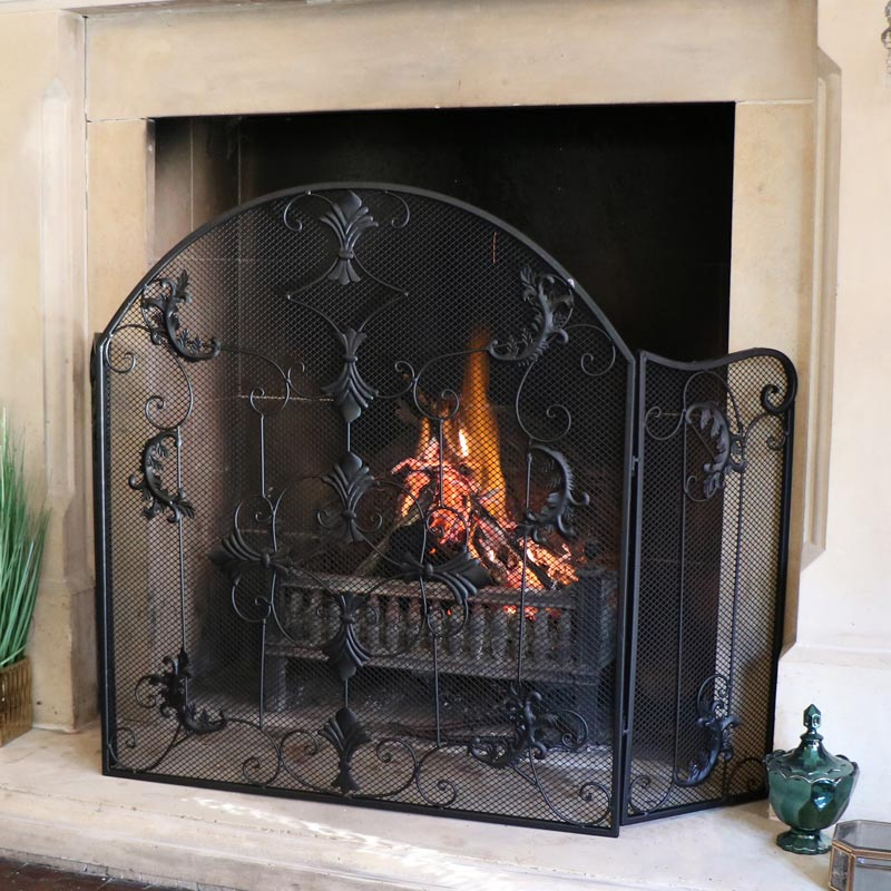 Black Metal Ornate Fire Screen