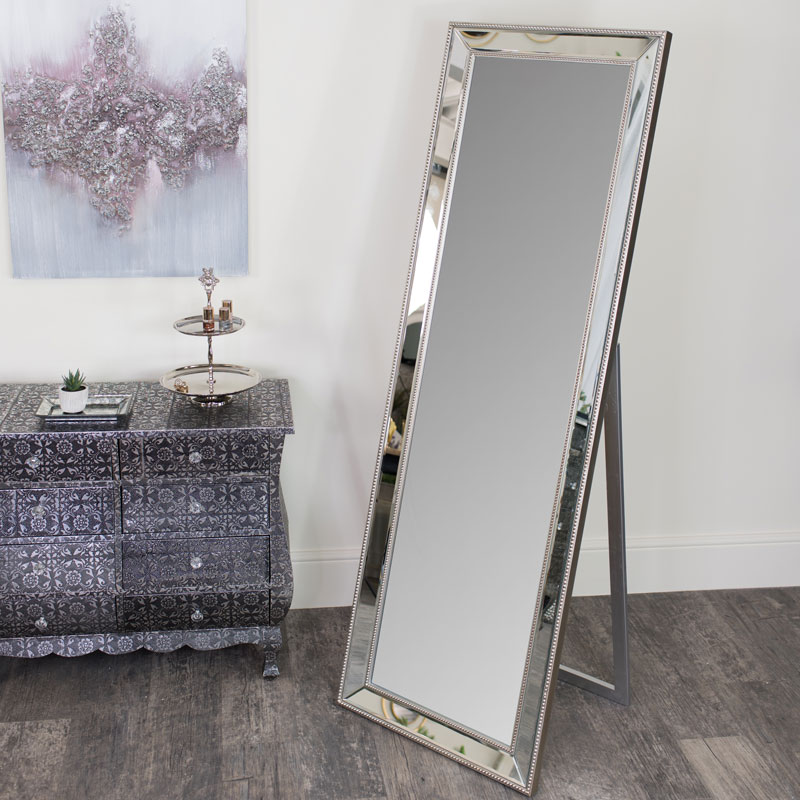 Bevelled Freestanding Beaded Cheval Mirror 56cm x 168cm