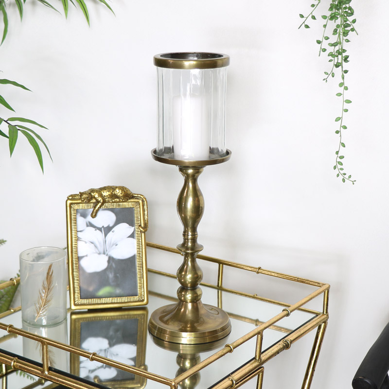 Tall Gold Metal & Glass Candle Holder