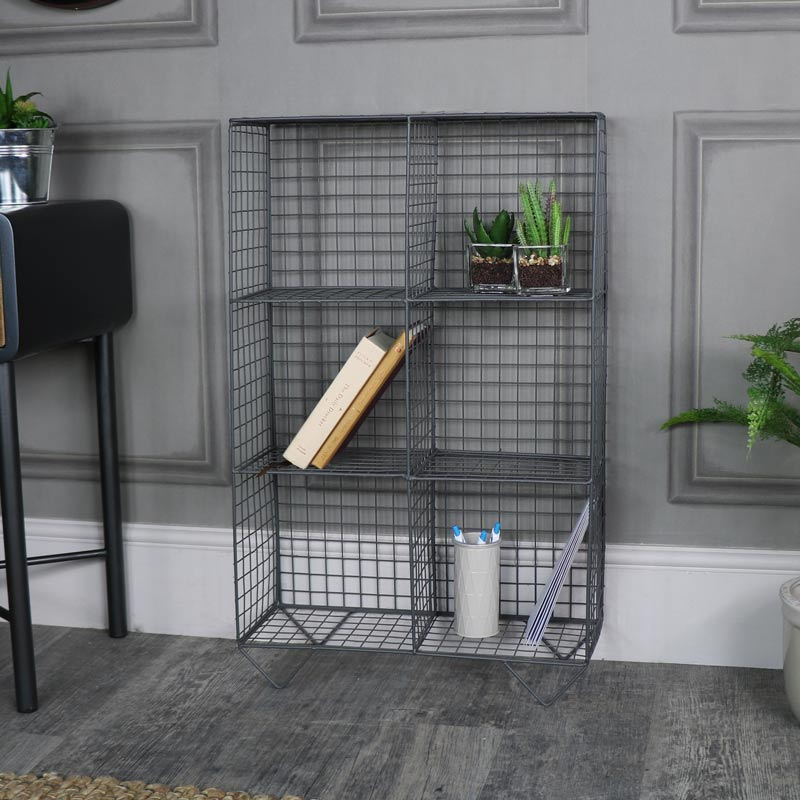 Grey Freestanding Wire Shelving Unit