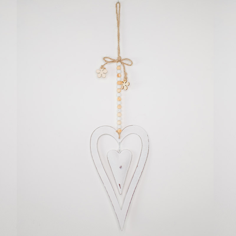 White Metal Hanging Heart Decoration