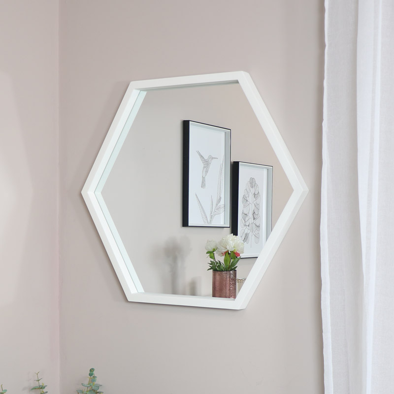 Large White Hexagon Mirror
