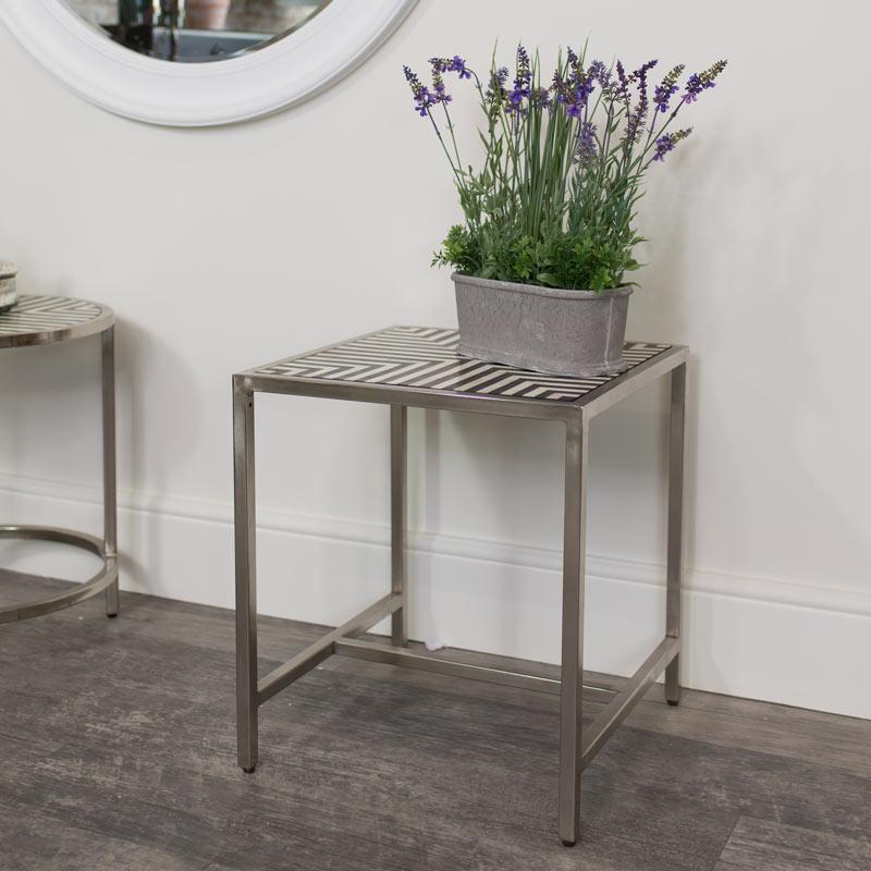 Square Silver Monochrome Side Table