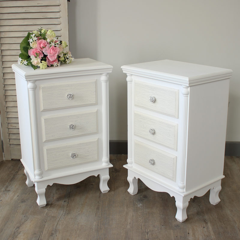 Lila Range - Furniture Bundle, Pair White Bedside Table Chests