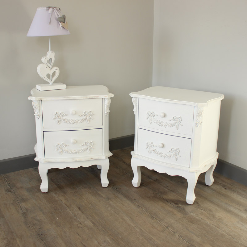 Pair of 2 Drawer Bedside Tables - Pays Blanc Range