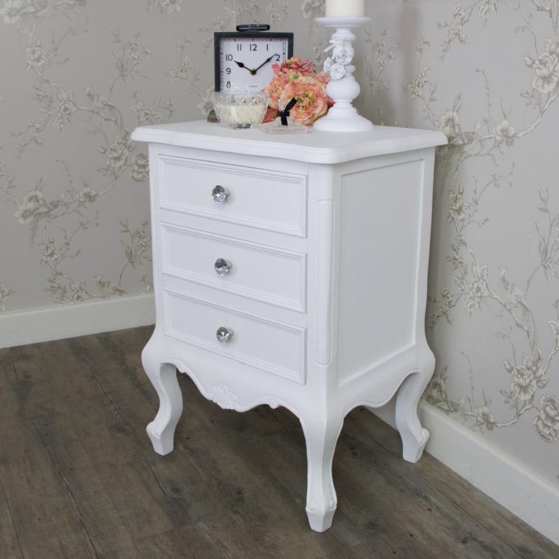 Ornate White 3 Drawer Bedside Chest - Elise White Range