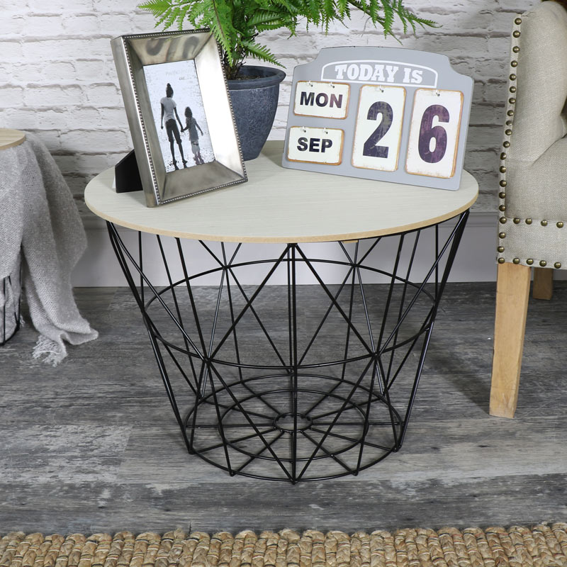 Black Metal Wire Basket Wooden Top Side Table