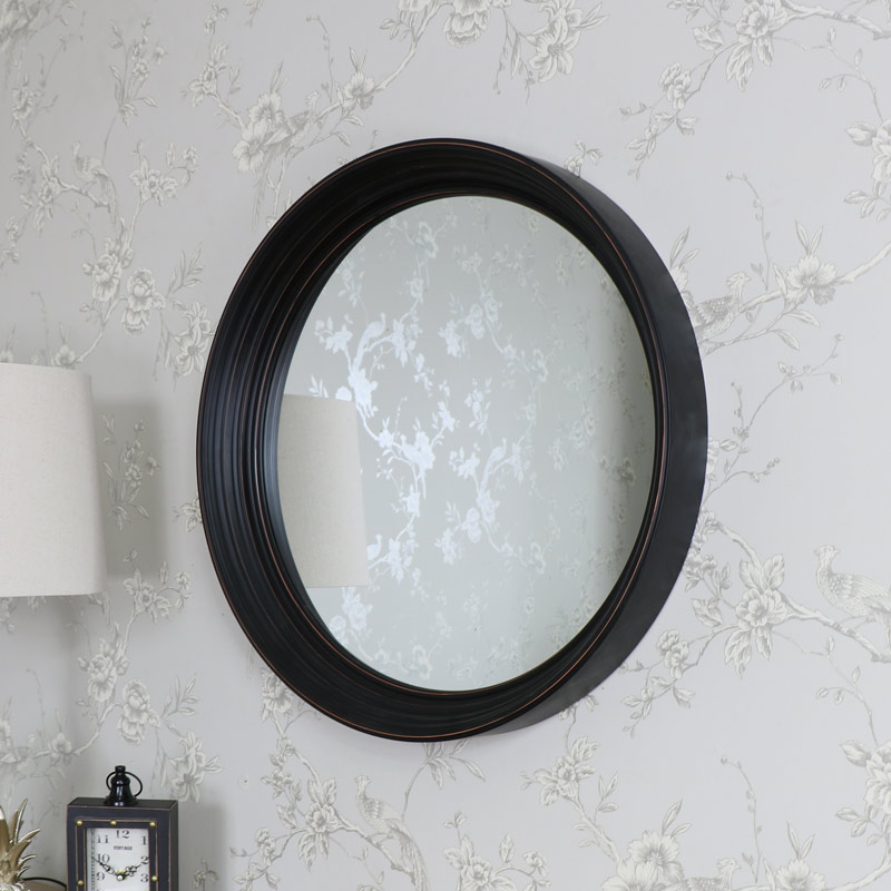 Large Round Black Wall Mounted Mirror 61cm X 61cm Flora