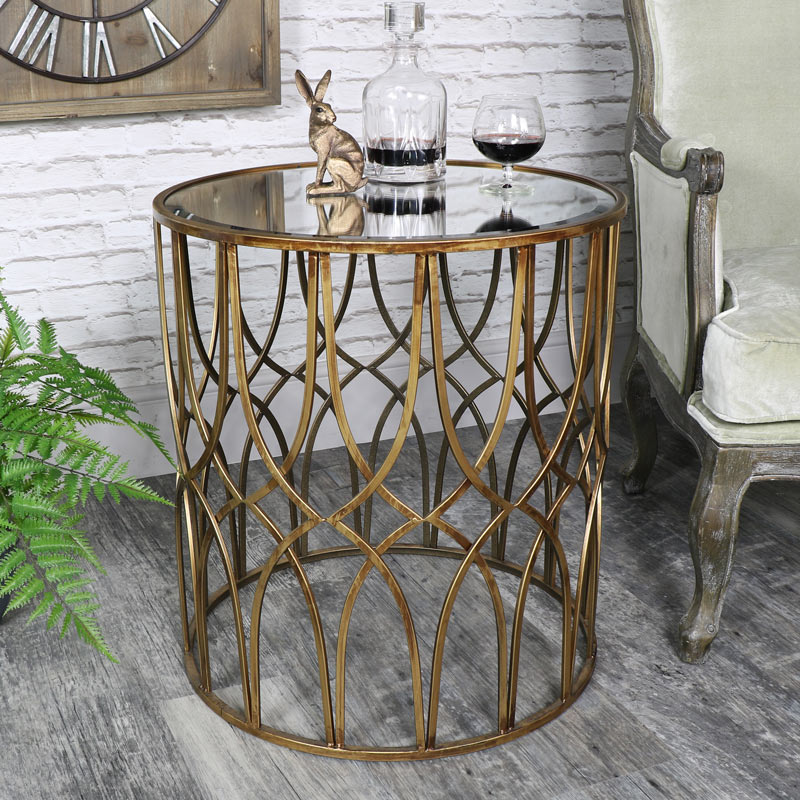 Ornate Antique Gold Mirrored Side Table   Vintage Mirrored Furniture Ornate  Antique Gold Mirrored Side Table   Vintage Mirrored Furniture