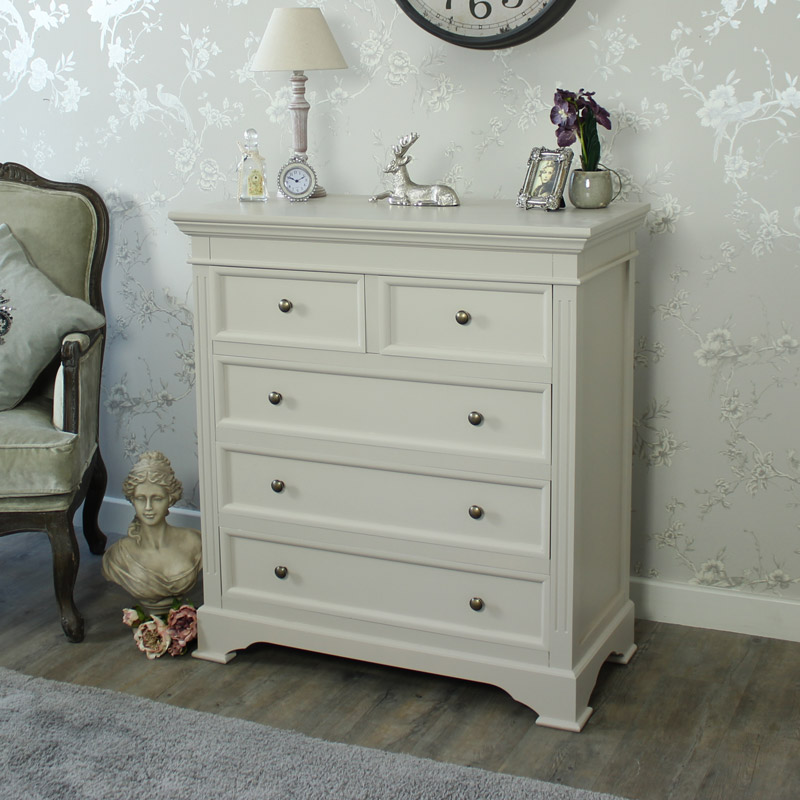 Grey 5 Drawer Chest of Drawers - Daventry Taupe-Grey Range