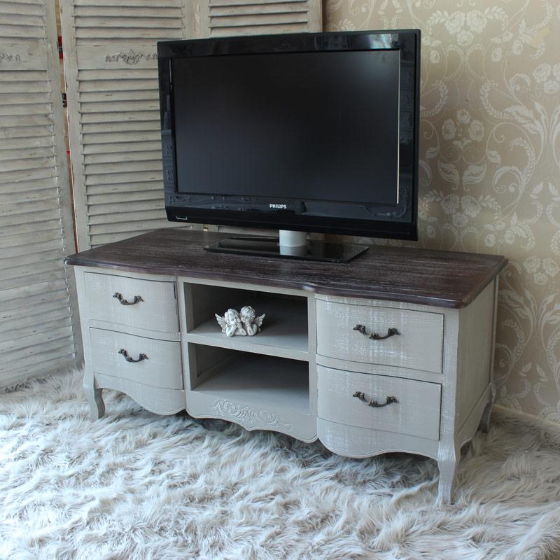 French Grey Range Grey Tv Cabinet Unit Flora Furniture