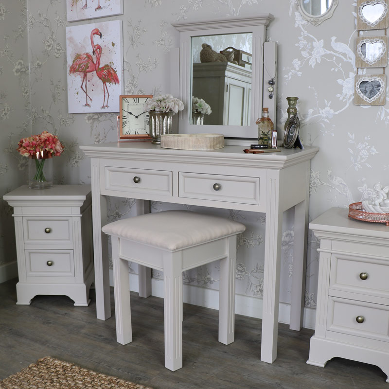 Grey Dressing Table, Stool and Mirror Set - Daventry Grey Range ...
